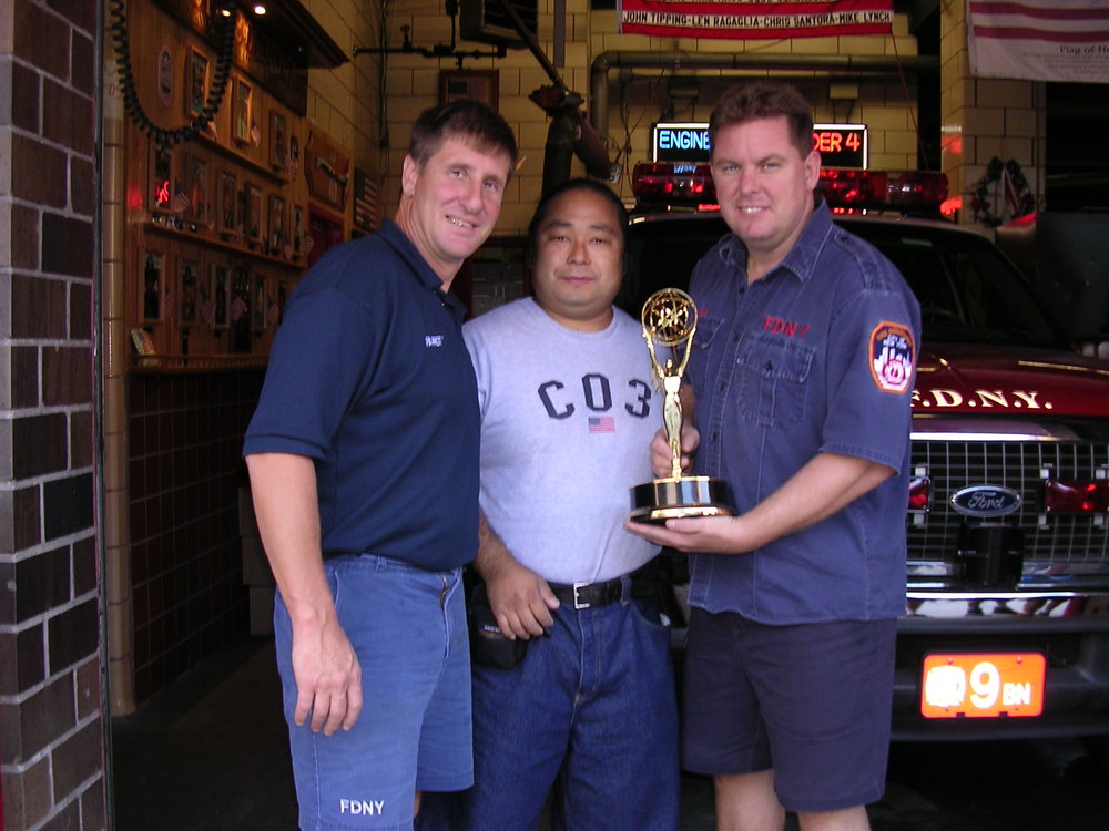 This was a very special moment for me. The tragedy of September 11th happened only two short years before the night of our Emmy celebration. We were walking on our tour and came across Battalion 9, Ladder 4, Engine 54. These American heroes lost several of their brothers when the World Trade Center collapsed. I was honored to be able to take a photo with these two Patriots.