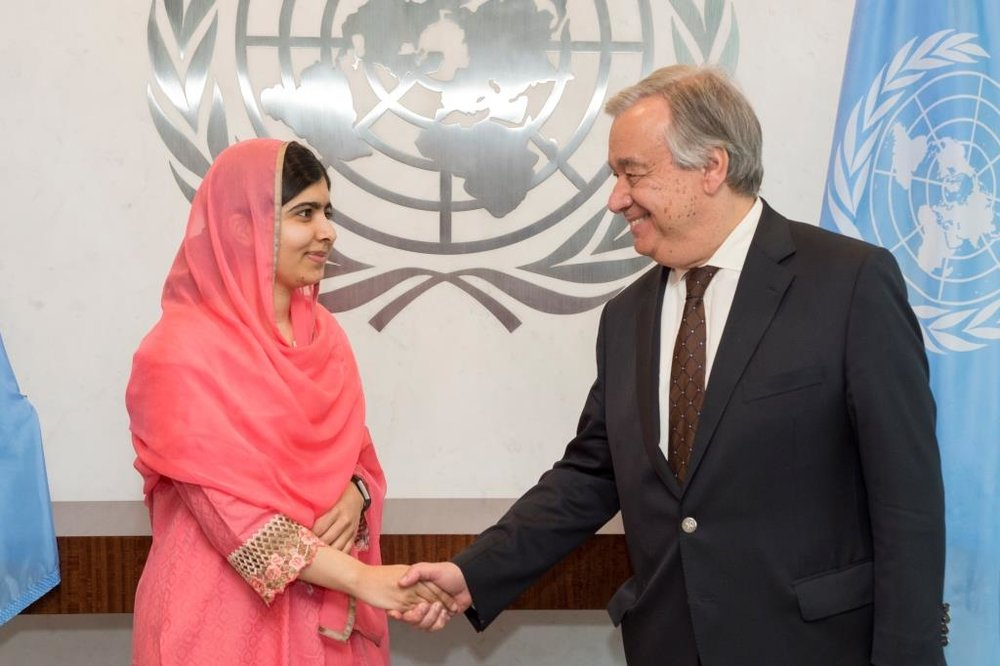 Malala with the Secretary General of the United Nations, António Guterres