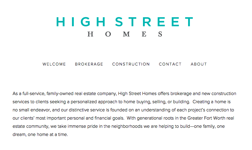 "High Street Homes ""about"" page copy"