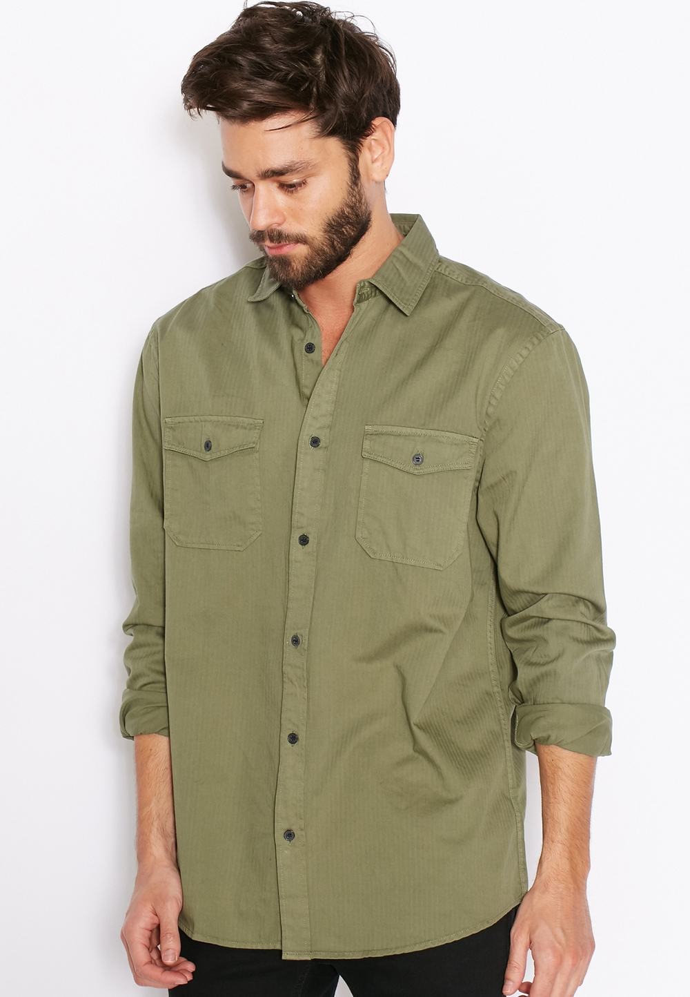 NEW LOOK// Military Herringbone Shirt// 130 AED