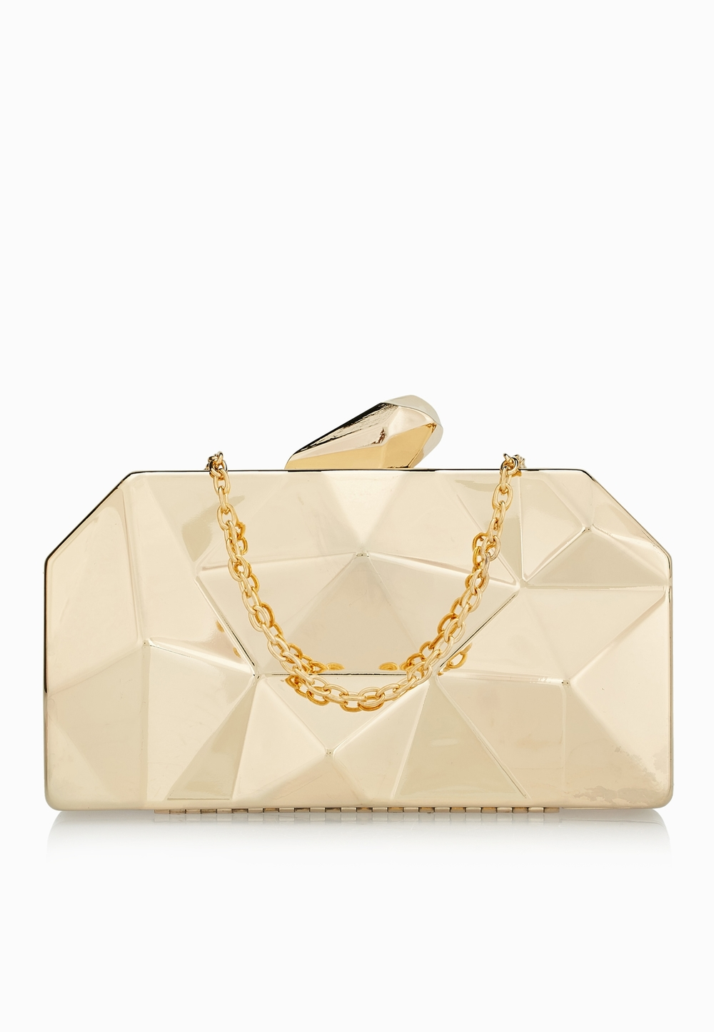 GINGER// Geometric Detail Box Clutch// 185 AED