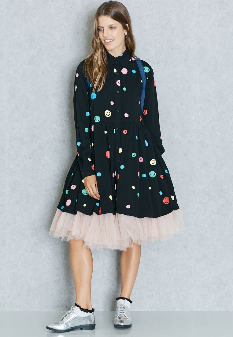LAZY OAF//Spot Print Shirt Dress//415 AED/SAR