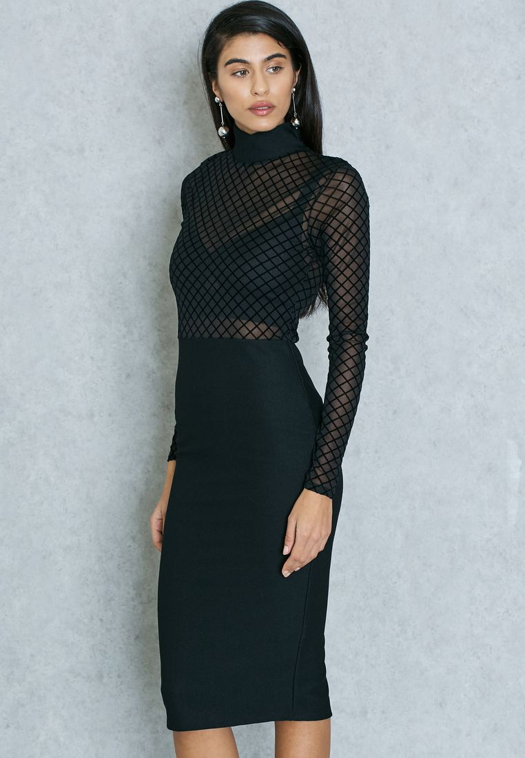 MISSGUIDED//High Neck Mesh Detail Dress//165 AED/SAR