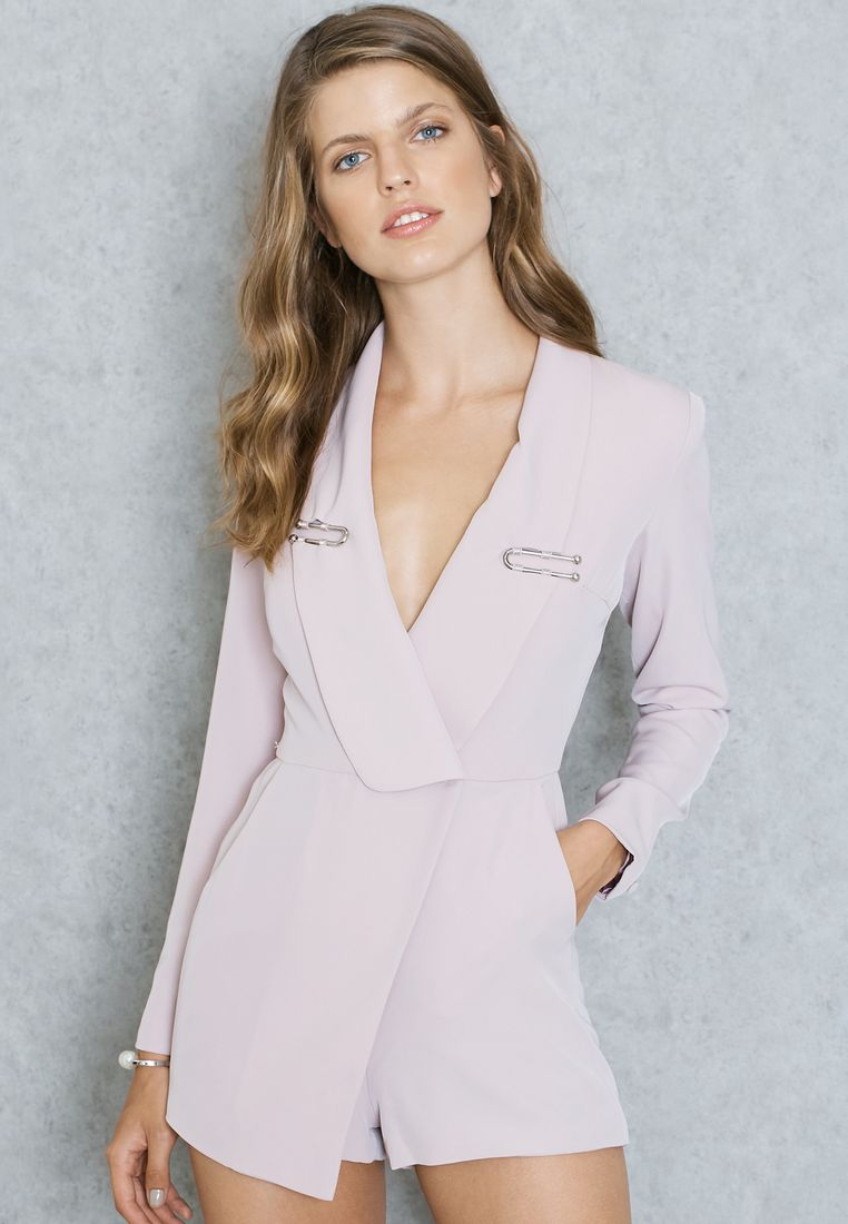 LAVISH ALICE//Lapel Trim Blazer Style Playsuit//395 AED/SAR
