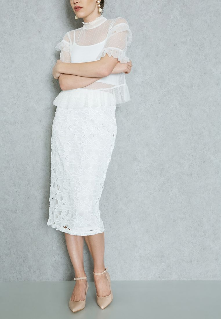 DOROTHY PERKINS//Lace Contrast Pencil Skirt//195 AED/SAR