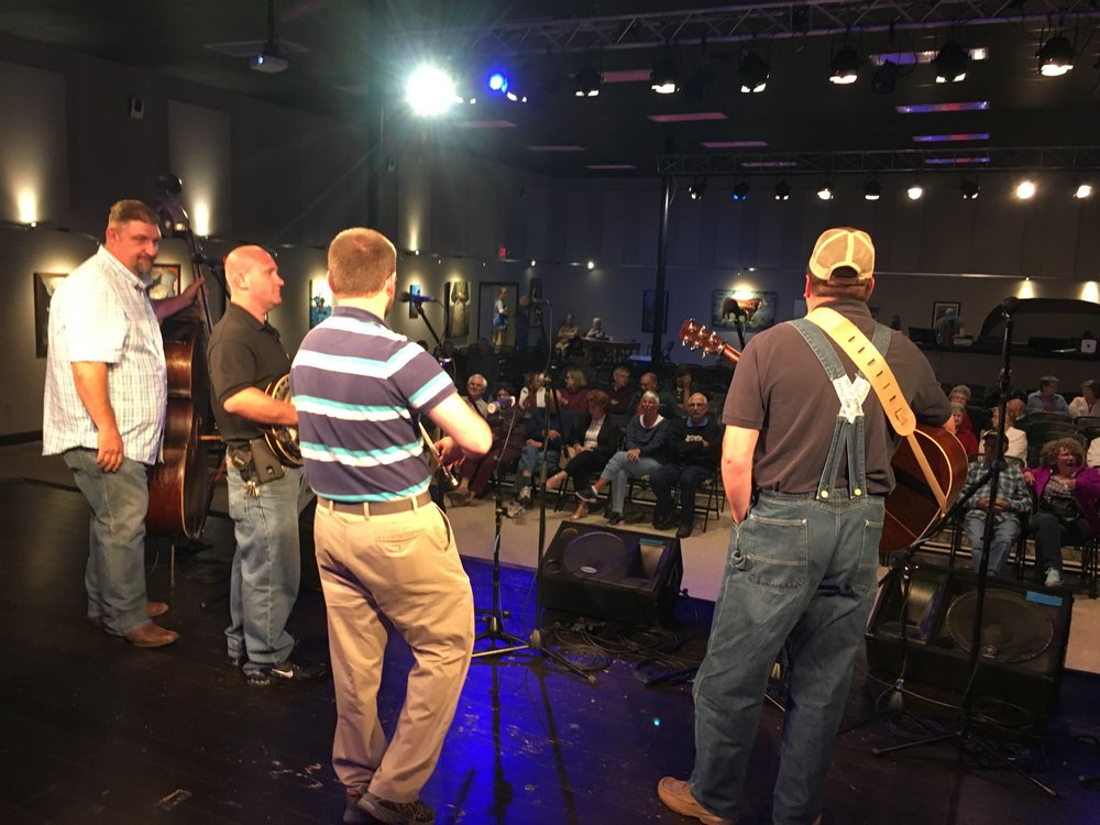 My view from the back of the stage (hiding off mic) at the Red White and Bluegrass jam, Boone
