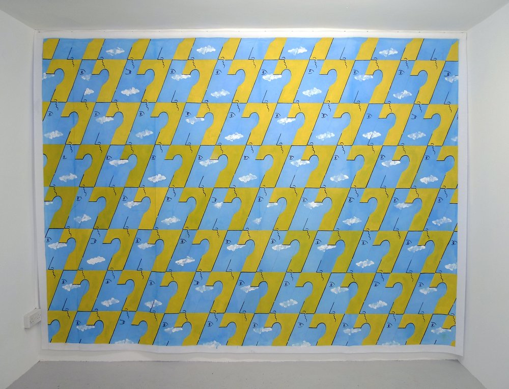 Sky Men Variations  2013 Acrylic on Scenic Polyester, 225 x 298 cm