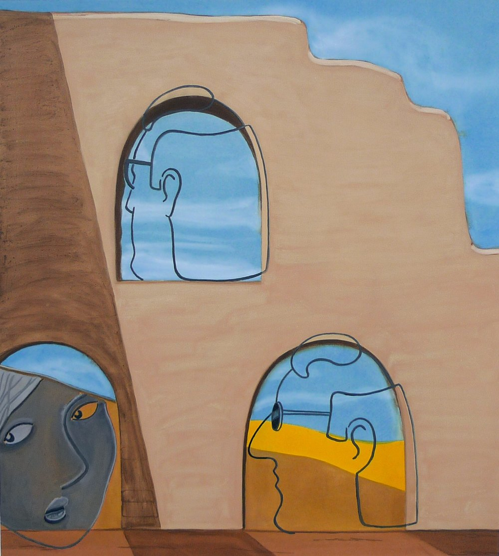 Twins in a Ruin  2013 Acrylic on canvas, 120 x 108 cm