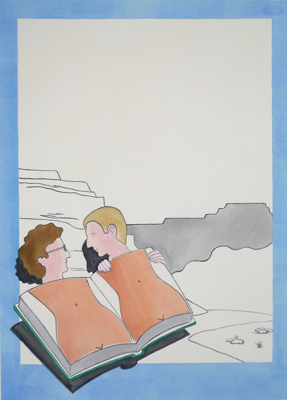 Two Men under a Book (Happy Trails)  2013 Acrylic on canvas, 135 x 97 cm