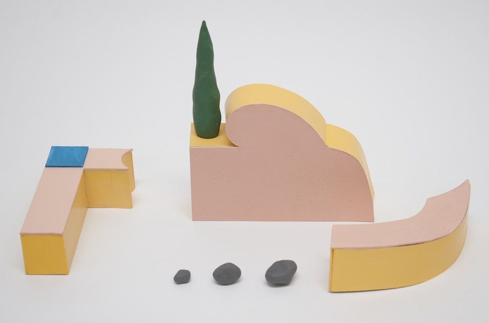 Sculpture arrangement   2016 Card, paint and plasticine, dimensions variable