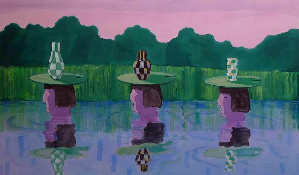 Taking Vintage Vases Down River 2014 Acrylic on Canvas, 115 x 200 cm Private Collection