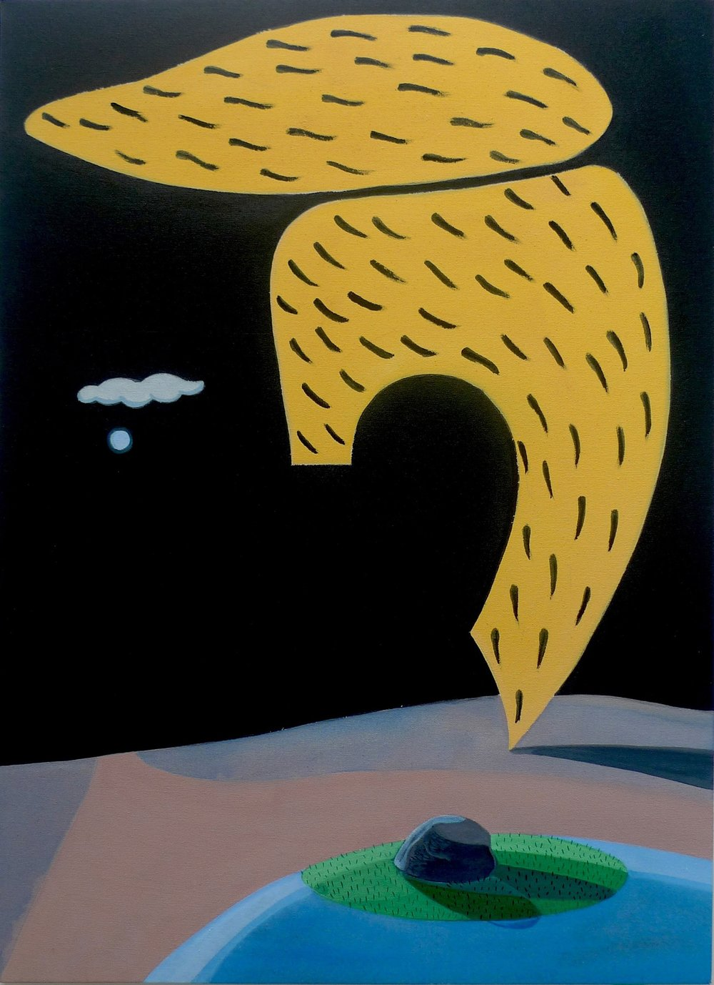 Chance Encounter of Hairline, Moon and Cloud  2015 Acrylic on Canvas, 100 x 73 cm  Private Collection