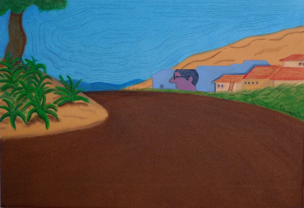 Family Man in Rural Intrigue  2012 Oil, acrylic, marker pen and oil pastel on canvas, 58.5 x 85 cm  Private Collection