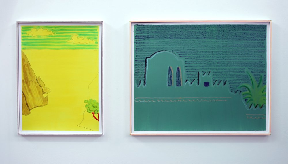 Left: Yellow Landscape  2011 Oil, pencil and marker pen on paper in artist's frame, 41.5 x 31.5 cm  Private Collection   Right:   Bare Bones of an Exotic Vision  2011 Oil and oil pastel on paper  Private Collection