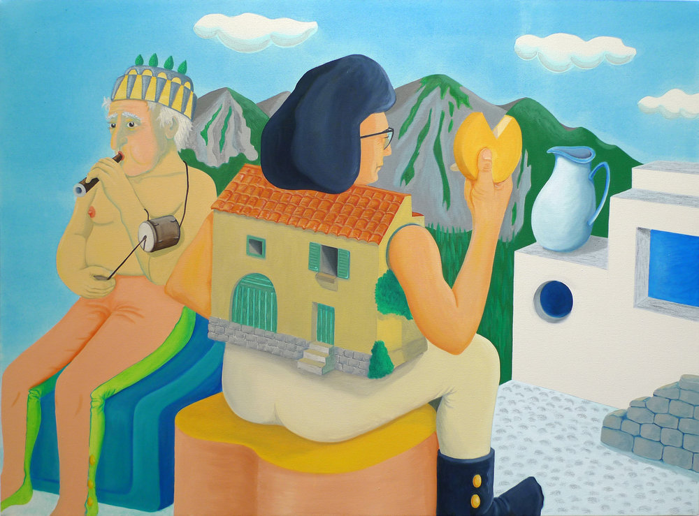 Grandpa au Fabiol et Yé-Yé Maison  2017 Oil and acrylic on canvas, 90 x 120 cm