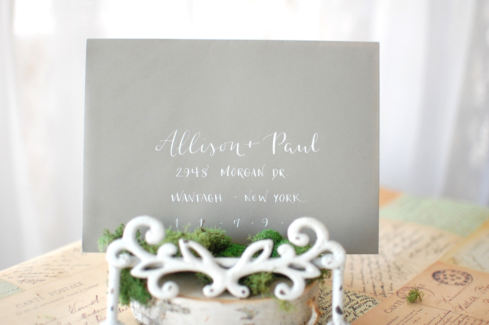 Allison Vaz Designs Modern Calligraphy White Ink Gray Envelope