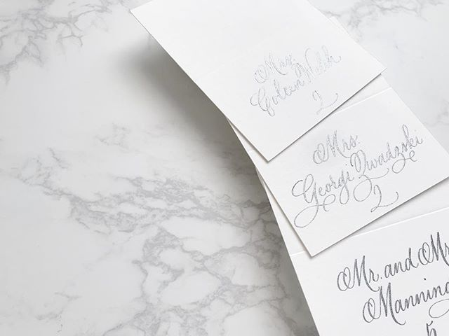 A little sparkle for a special 70th birthday. 😍 . . .  #calligraphy #calligrapher #pointedpen  #ohsobeautifulpaper #placecards #specialevent