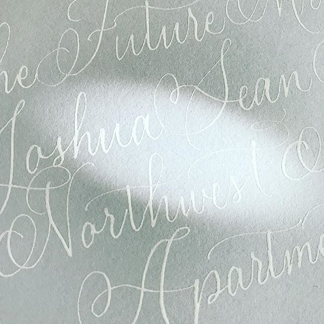 Some afternoon sunlight ❤️ . . . #calligraphy #weddingcalligraphy #calligrapher #stationery #envelopes #dailydoseofpaper #paperlove #penmanshipmatters #pointedpen #copperplate #flourish