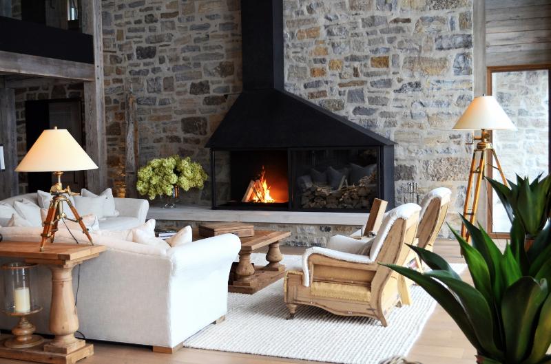 Modern rustic fireplace