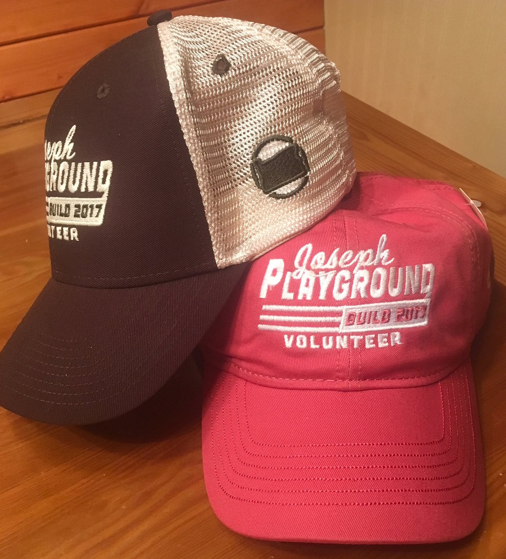 $20/HAT for all Volunteers. Proceeds go to the Playground. Buy your hat now at JOSEPH HARDWARE or at the Build April 25-30.