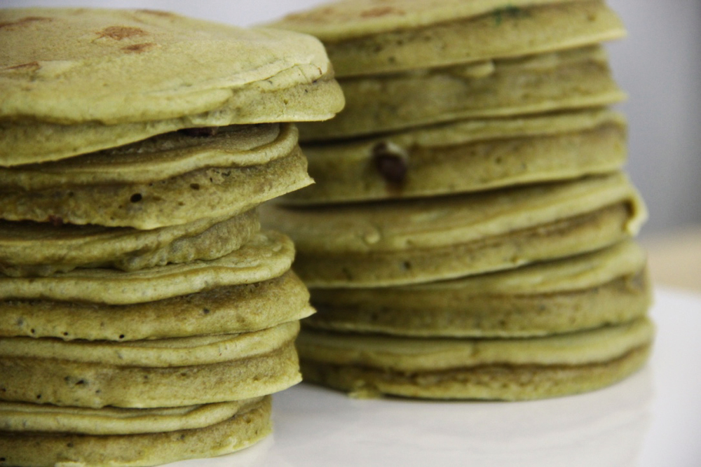 Matcha/Chocolate pancakes