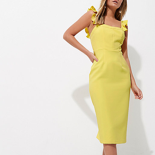 Yellow Frill Cami Bodycon - River Island  £45