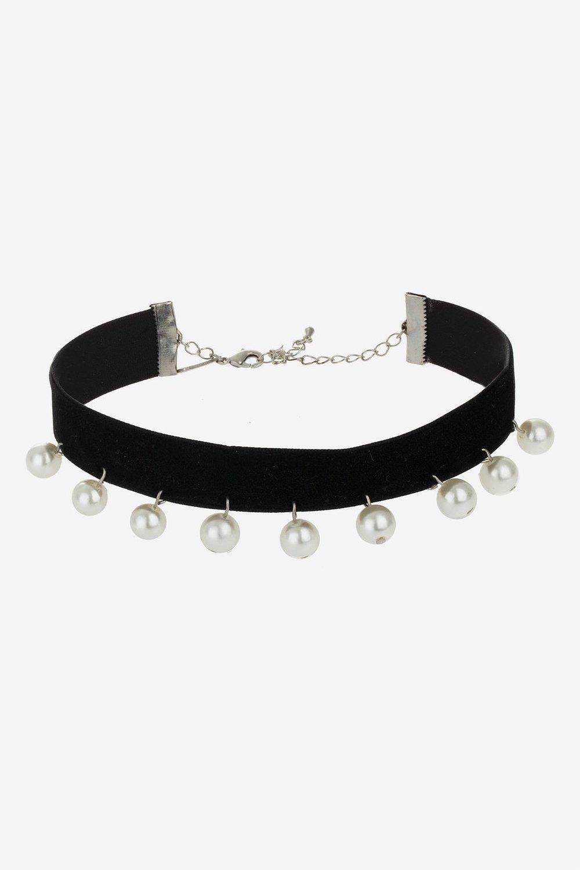 Pearl Velvet Choker Necklace - Topshop  £9