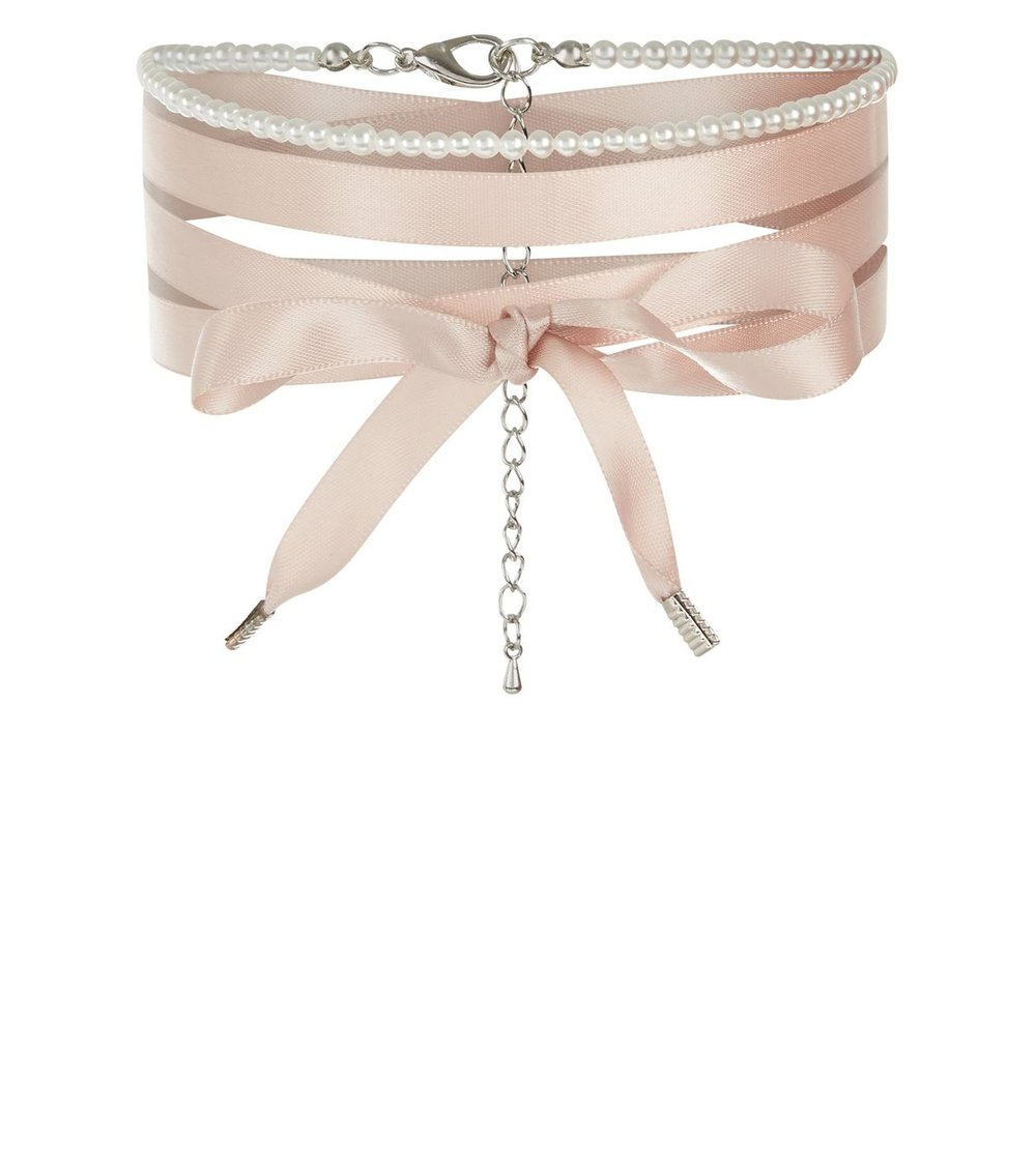 Shell Pink Pearl & Ribbon Choker - New Look  £4.99
