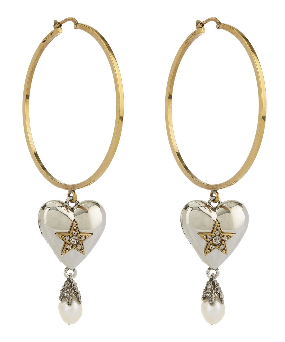 Heart and Pearl Locket Hoop Earrings - Alexander McQueen £495