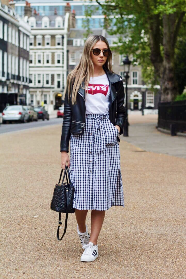 OUTFIT DETAILS: SKIRT - RIVER ISLAND LIMITED EDITION.  T-SHIRT - LEVI'S SHOES - ADIDAS ORIGINALS BAG - FENDI SUNGLASSES - MIU MIU JACKET - ZARA