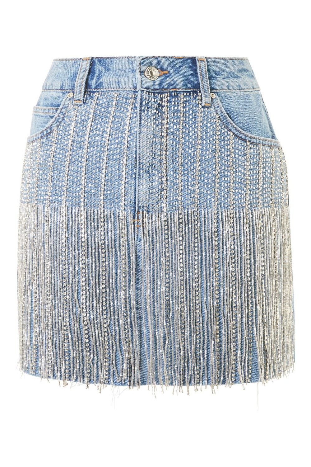 dazzle fringe denim skirt - Topshop £70