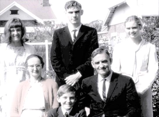 Back row: Freda, Leonard, Dorothy Jr.  Front: Mrs Long, Arnold Jr, Mr Long.