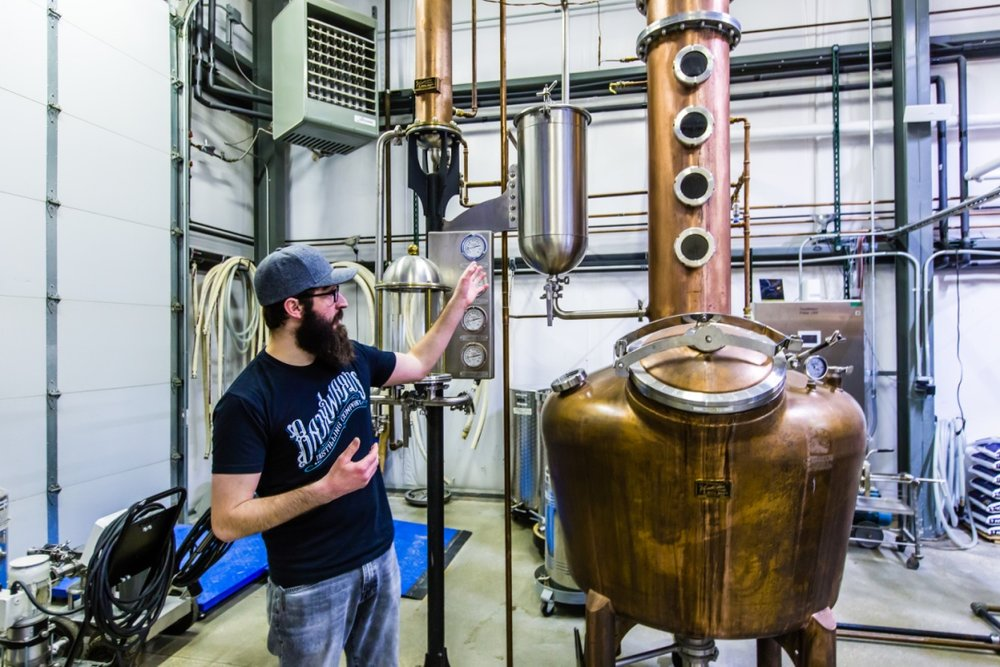Touring  Backwards Distillery
