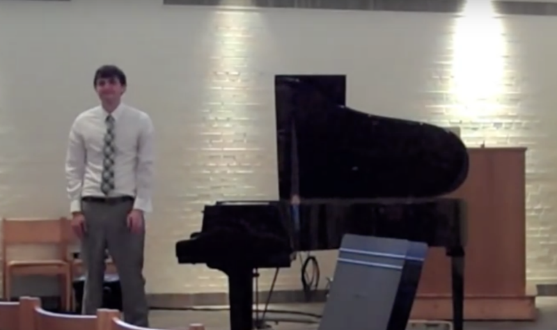 21 year-old Steve stands by a piano and tries not to cry.