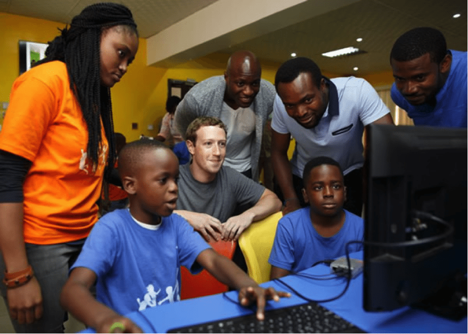 Mark Zuckerberg visits Lagos, Nigeria.