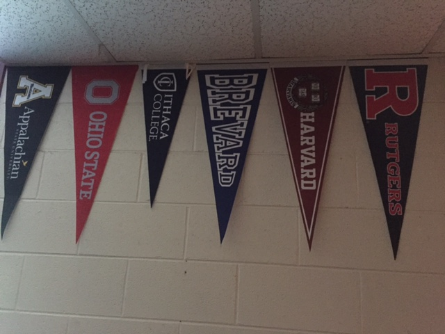 Pennants hanging in Georgia's classroom.
