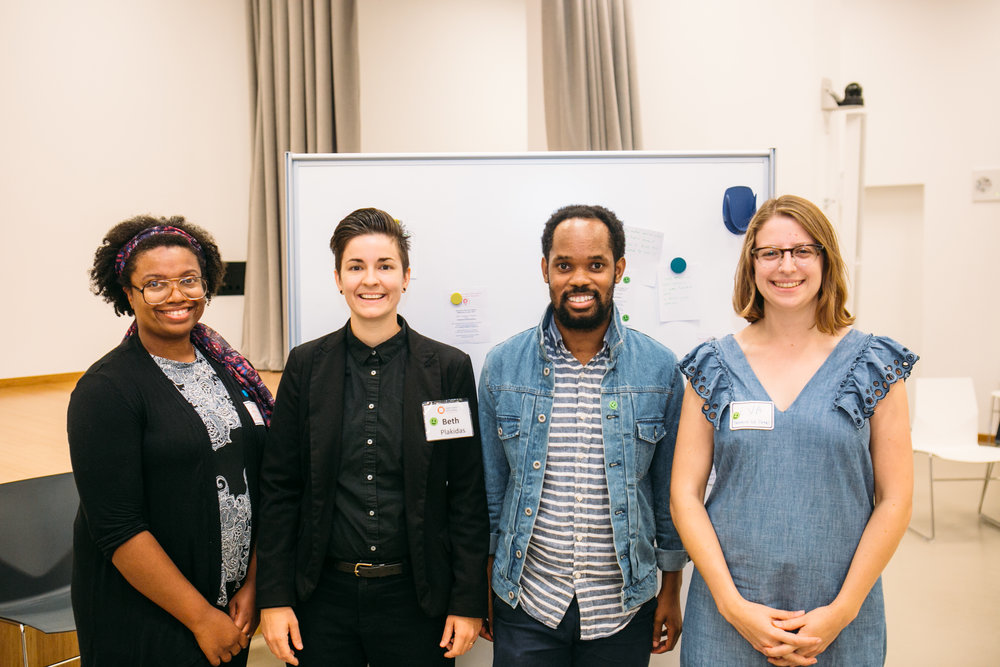 L to R:  Lakita Edwards , Co-Founder, Harvard Alumni for Education;  Beth Plakidas , Visual Arts Program Coordinator, Harvard Ed Portal;  Michael Sanders,  Co-Founder, Harvard Alumni for Education;  Eva Rosenberg , Arts Program Manager, Harvard Ed Portal | Photo by  William Halsey