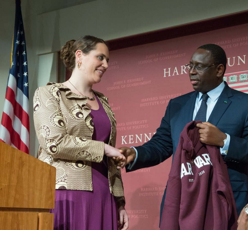 Welcoming His Excellency President Macky Sall at the Harvard Africa Development Conference, March 2013.