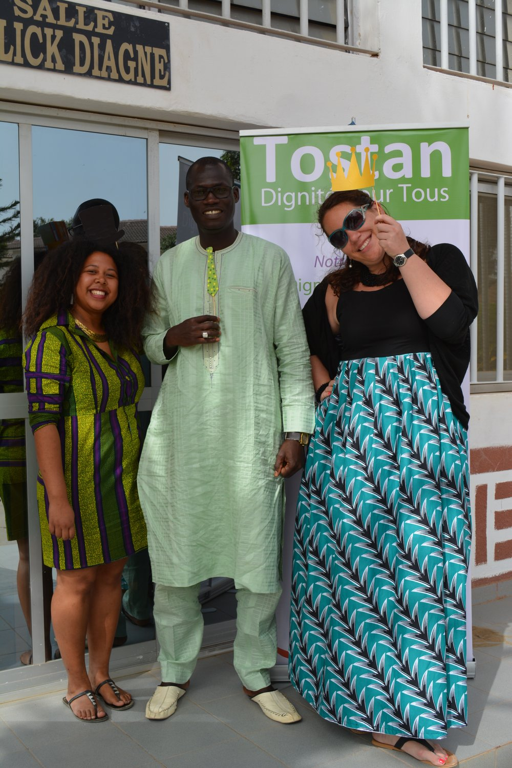 Hosting an event with Haingo Rakotomala and Birima Fall at the Tostan Training Center in Thies, Senegal. June 2016.
