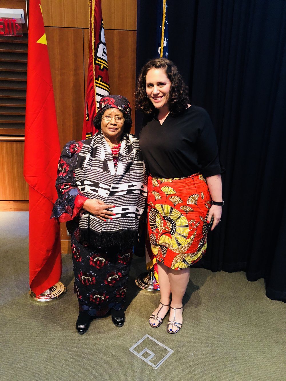 Former President of Malawi Dr Joyce Banda delivering the keynote address at the Maternal Health Symposium at the Harvard Chan School of Public Health. September 2018.