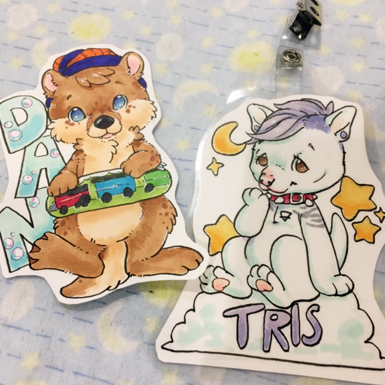 MiniBadges$20 - These cute badges feature a simple drawing of your character in a