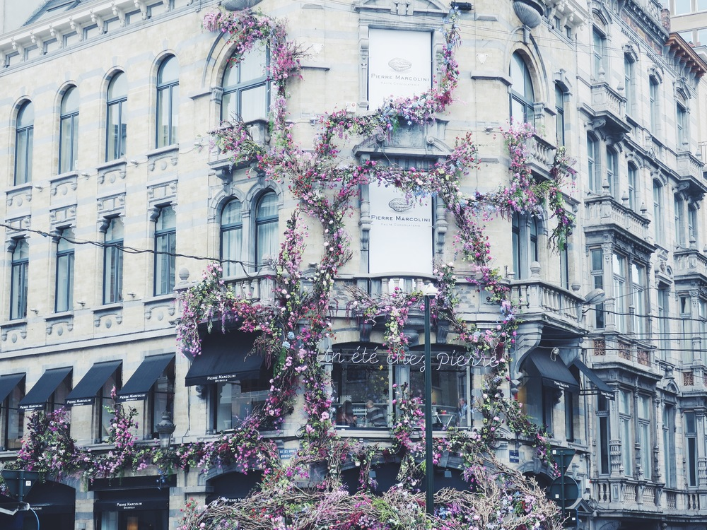 Pierre Marcolini, Rue des Minimes 1 (floral installation by Thierry Boutemy, summer 2016)