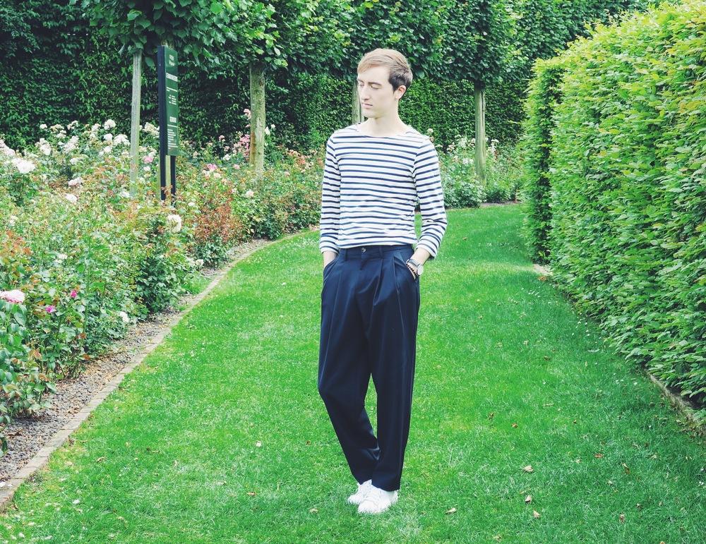 Saint James t-shirt - Zara trousers - Adidas Stan Smith sneakers