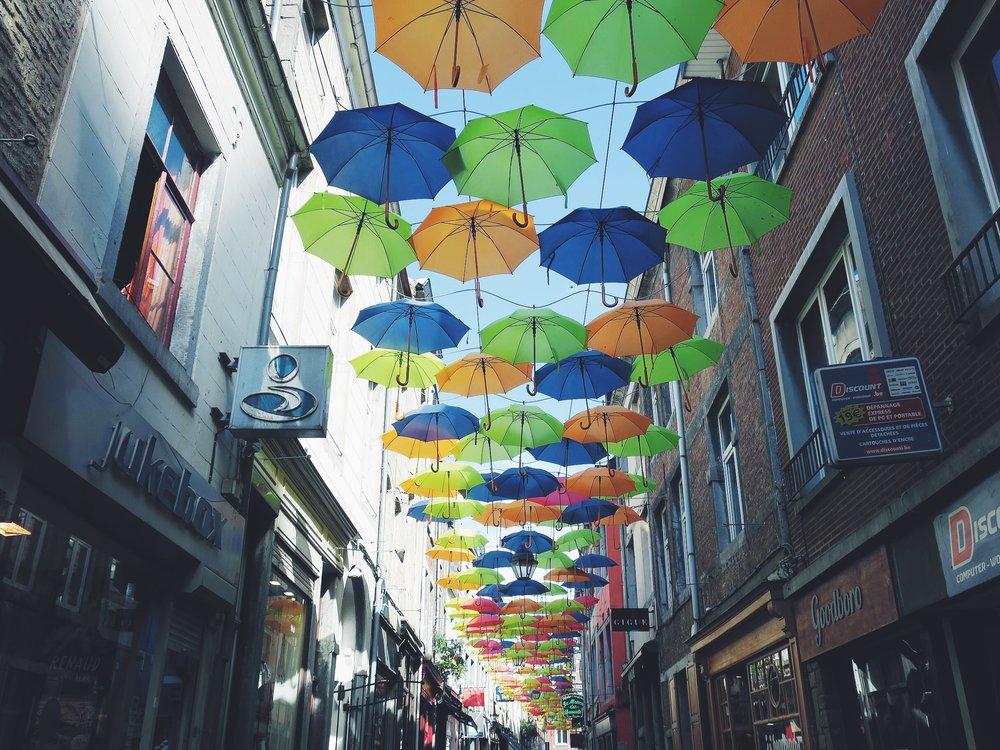 Umbrella Sky Project in the Rue Haute-Marcelle