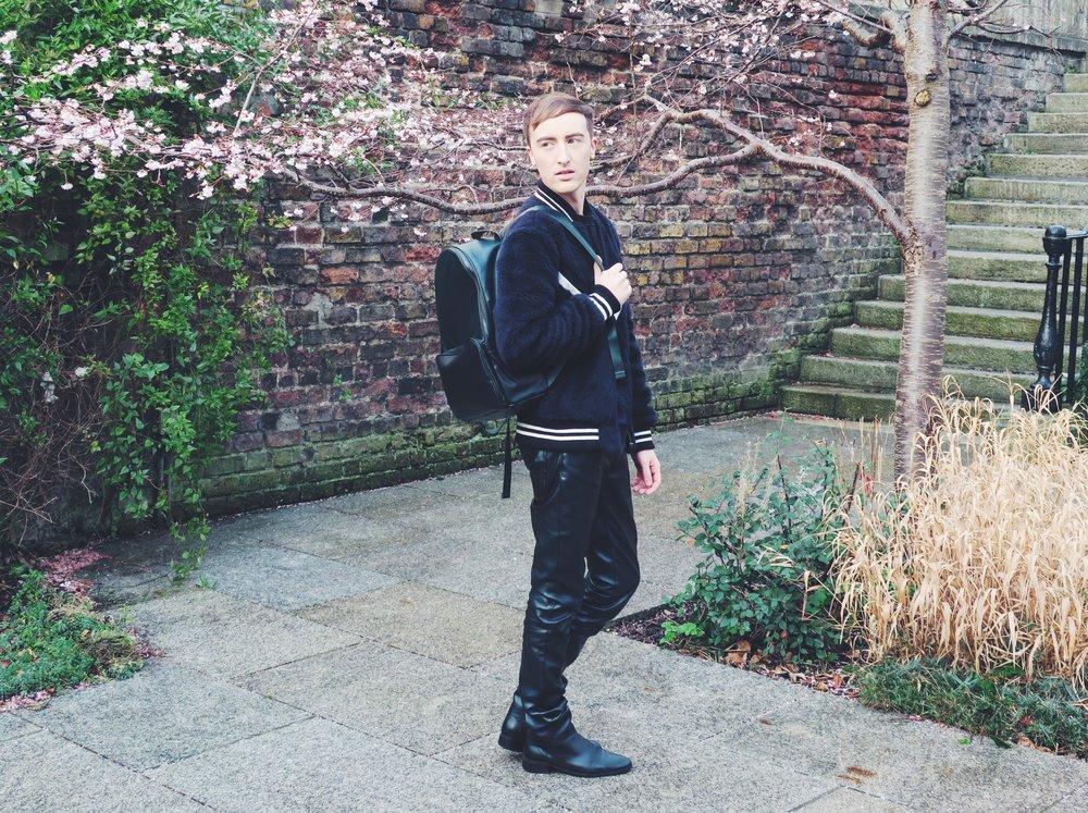 Essentiel bomber jacket - Zara trousers - Zara boots - Zara backpack