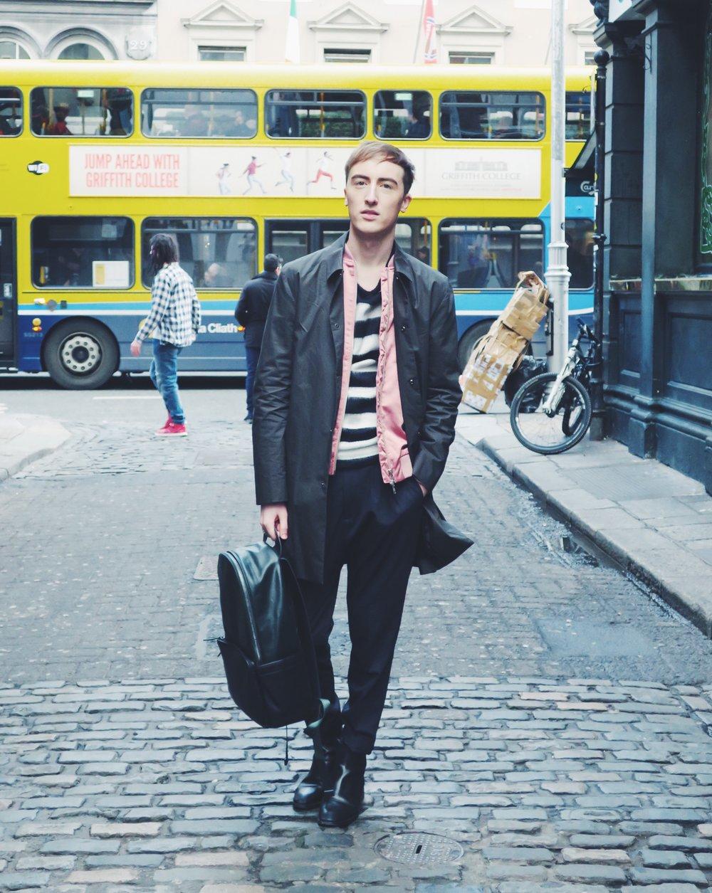 COS jacket - ADPT. bomber jacket via Zalando - Zara sweater - Zara trousers - Zara boots - Zara backpack