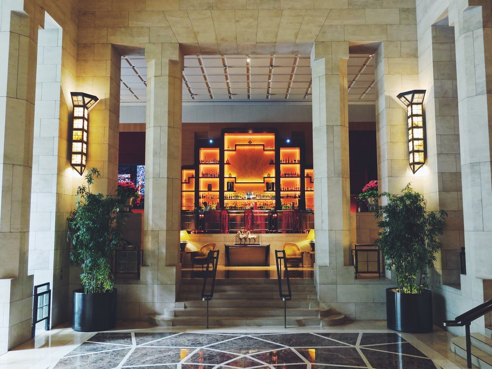 The Art Deco lobby of the Four Seasons