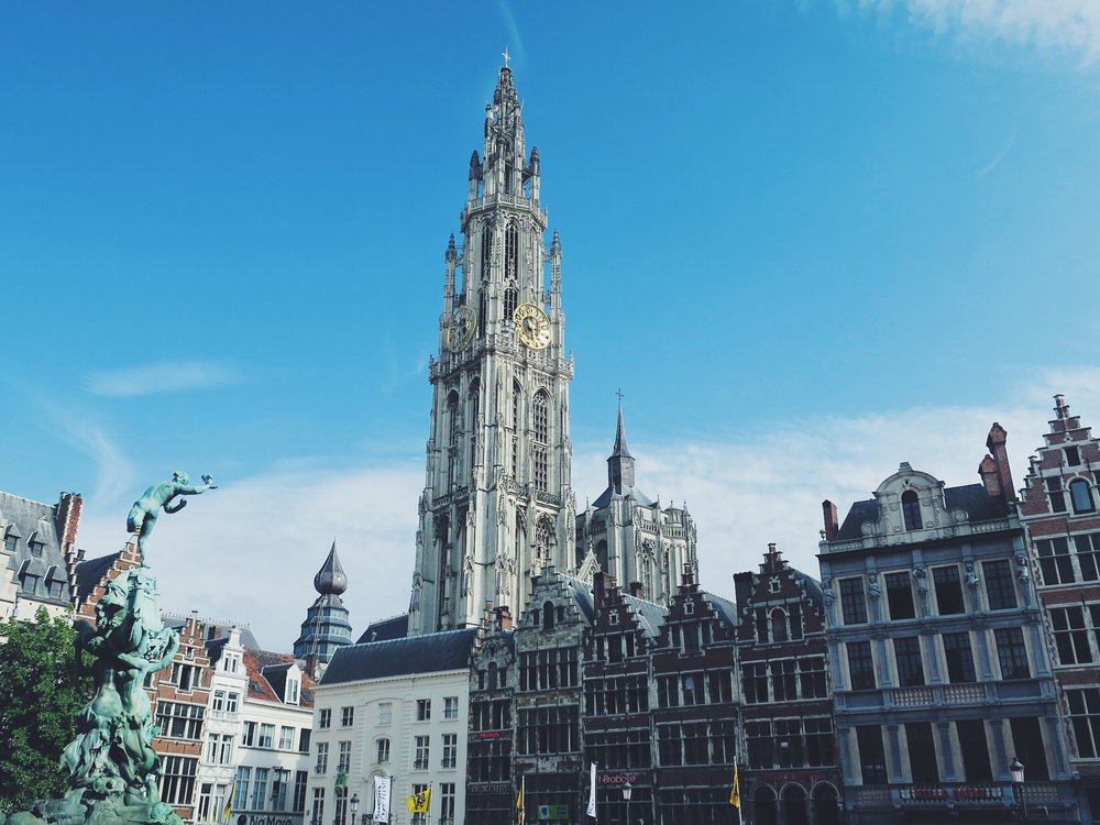 View on the Cathedral of our Lady Antwerp from the Grote Markt