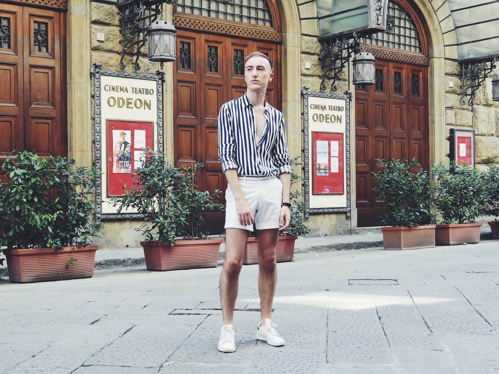 Zara shirt - Topman shorts - Adidas Stan Smith sneakers
