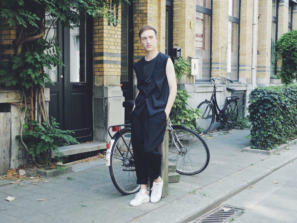 Kris Van Assche waistcoat - Raf Simons tank top - Asos trousers - Adidas Stan Smith sneakers